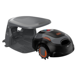 Black and Decker - Robot Cortacsped con Limpiador integrado y casa protectora - BCRMW123