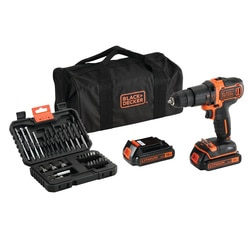 Black and Decker - KIT Taladro Percutor 18V con 2 bateras set 32 accesorios y bolsa de transporte - BDCHD18BS32