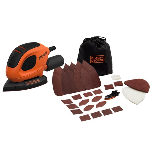 Black and Decker - Lijadora Mouse 55W con 15 Accesorios y Bolsa - BEW230BC