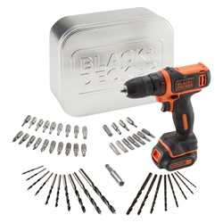 Black and Decker - Taladro atornillador 108V 15Ah Litio  con 50 accesorios en lata - BDCDD12AT