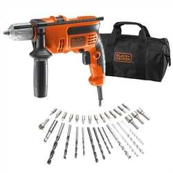 Black and Decker - Taladro Percutor 710W con 32 accesorios y bolsa - KR714S32